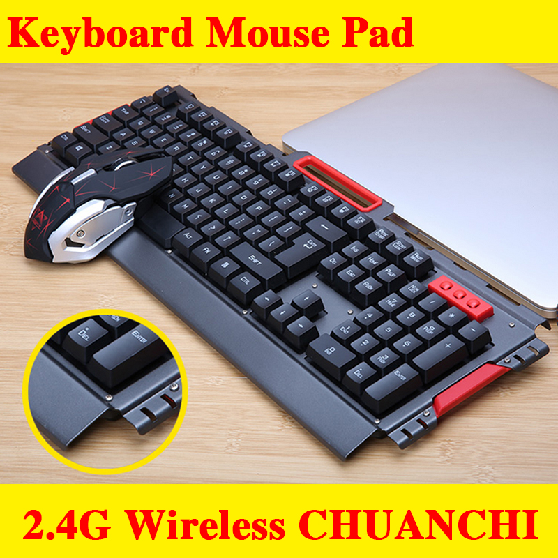 2.4G wireless Multimedia Ergonomic Usb Gaming Keyboard Mouse Combo illuminated 2400DPI Optical Gamer Mouse Sets + Mouse Pad цена и фото