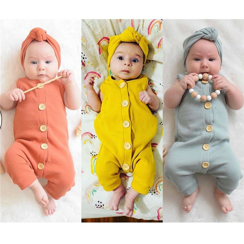PUDCOCO Newest Hot Newborn Infant Baby Girl Boy Solid Button Romper Jumpsuit+ Headband 2pcs Outfits Fashion Lovely Clothes Set