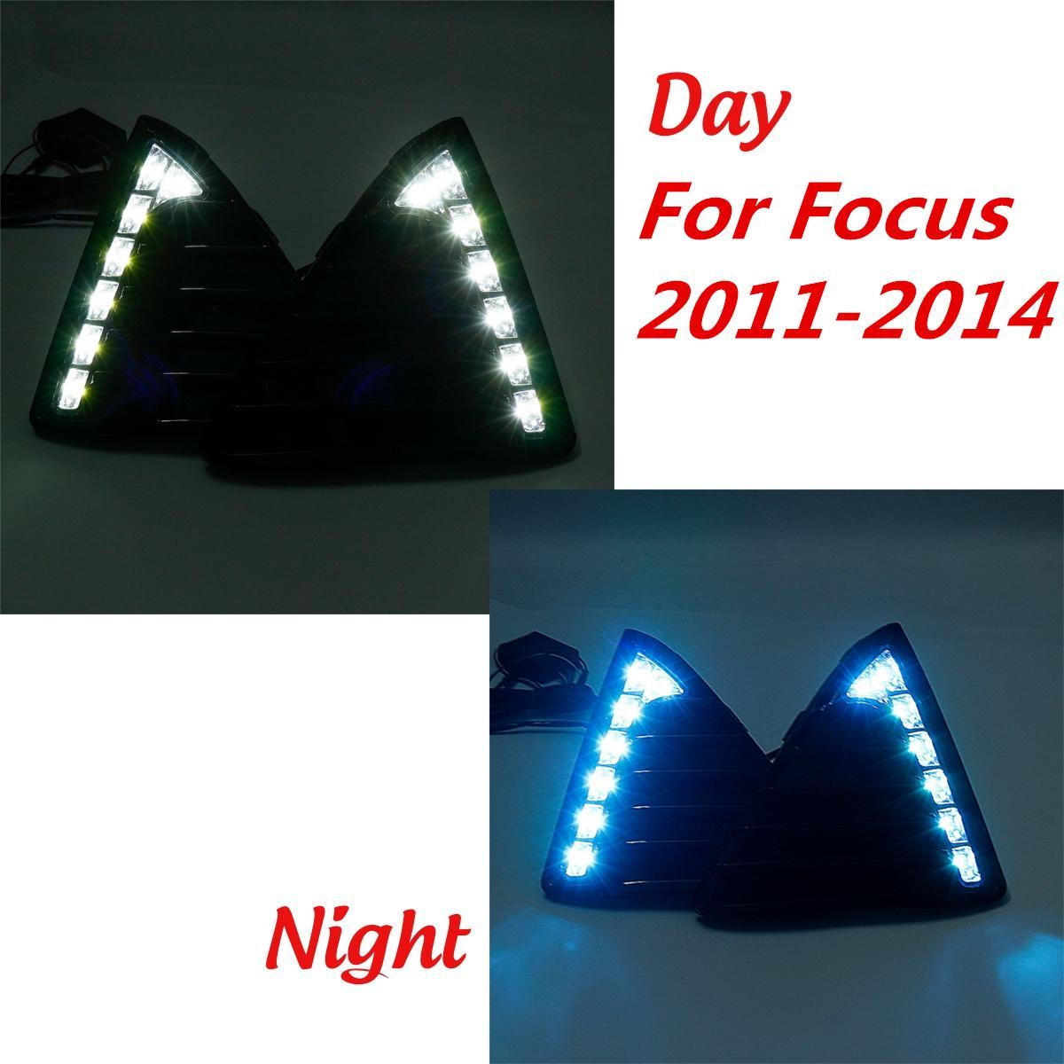 1 paire Pour Ford pour Focus 2011 2012 13 2014 Voiture Led Blanc/Bleu DRL Feux de Jour Jour avant Brouillard Lampe Étanche