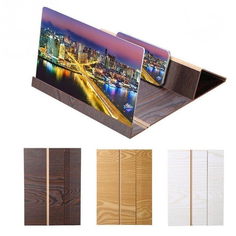 12 Inch 3D Video Screen Magnifying Glass Folding Phone Holder Bracket  Desktop Wood Bracket Zoom Mount Stereoscopic Amplifying