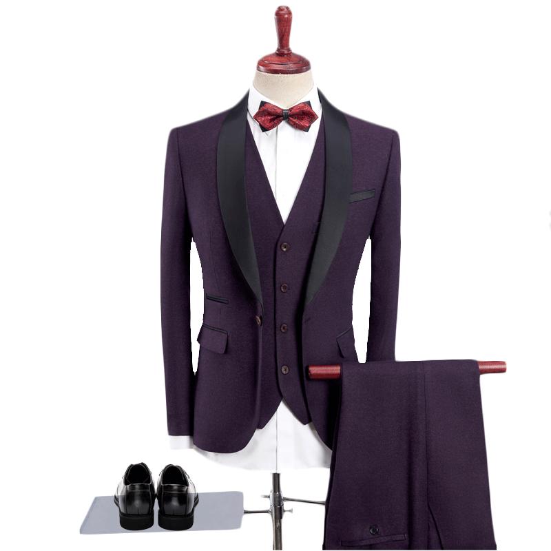 Heren Formele Pak 3 Stuk Set 8 Kleuren Mannen Jas Met Vest En Broek Zakelijke Bruiloft Banket Slanke Elegante Man Sets 4xl