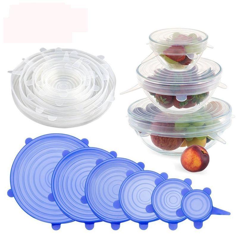 6 pz/set Riutilizzabile In Silicone Alimentare Pellicola trasparente Del Silicone di Vuoto Avvolge Guarnizione del Coperchio Saran Wrap Cucina Organizzazione