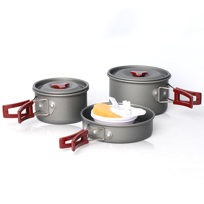A Set Priced Direct Selling Camping Pot Alumina Portable Of Pan Outdoor Cookware Items For Picnic