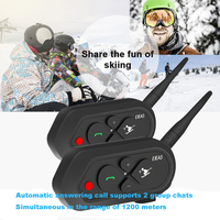 2PCS EJEAS SKI10 1200M Bluetooth Communicator SKI Helmet Headsets Intercom for 2 Skiers BT Wireless Intercomunicador Interphone