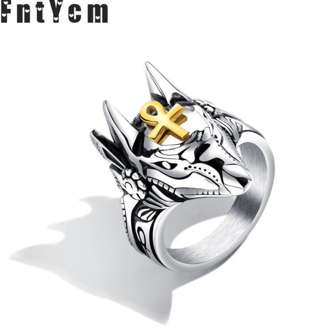 cc9520c7508f Anubis Egipto anillo Anillos de acero inoxidable para los hombres de plata  Punk Mens Anillos Bague hombre Anel Masculino de la joyería