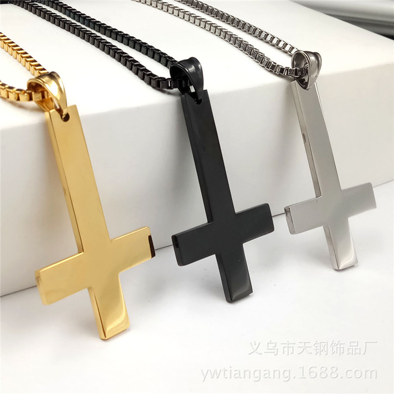 Fashion 316L Stainless Steel Inverted Cross Pendan