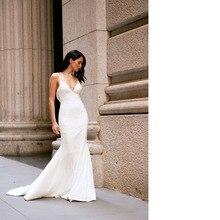 Sexy Spaghetti Straps Backless Satin Mermaid Wedding Dresses Simple Formal Women Bridal Gowns Robe 2019