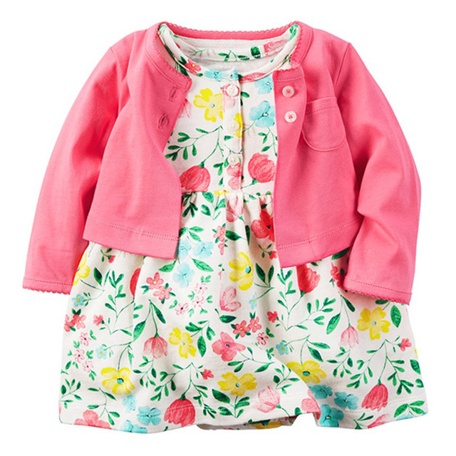 Baby Girls Clothing Set Dress Bodysuit 2pcs(long Sleeve Vest + Dress Bodysuit) Bebes Carter Toddler