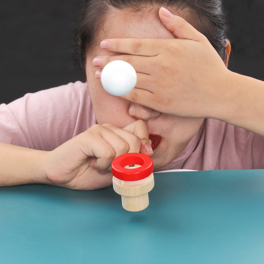 Montessori Classic Wooden Game Floating Ball Blow Pipe & Balls Blowing Desktop Gadget Toys