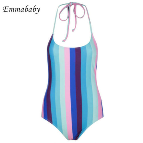 2019 Women Striped One Piece Suits maillot de bain femme swimwear bathing suit women one piece swimsuit monokini in Body Suits from Sports Entertainment