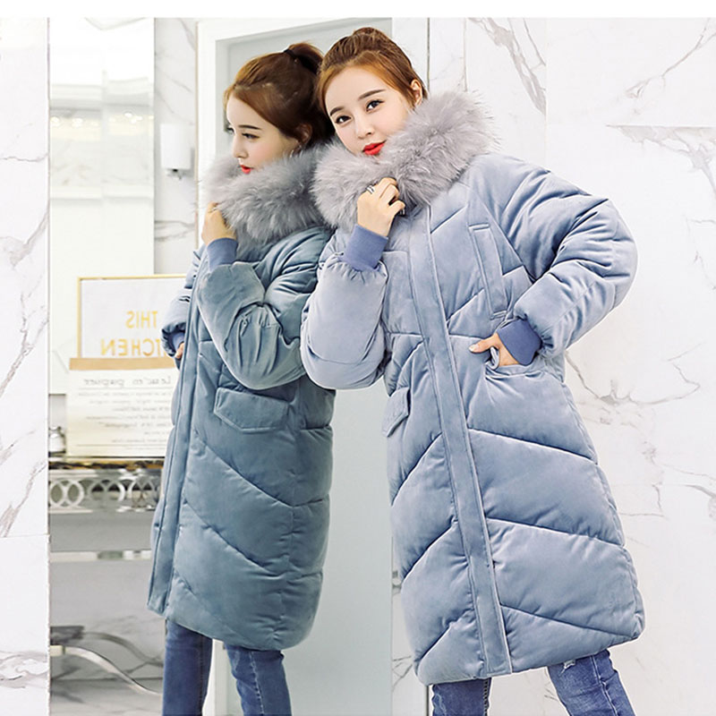 Velvet Down Jacket Female Winter Big Fur Collar   Parka   Korean Slim Large Code Coat For Ladies Loose Long Winter Jacket Women