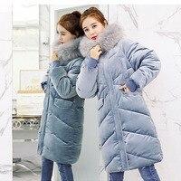 Velvet Down Jacket Female Winter Big Fur Collar Parka Korean Slim Large Code Coat For Ladies Loose Long Winter Jacket Women