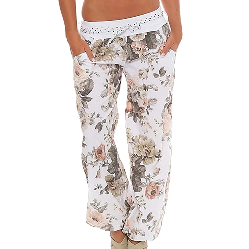 Casual Women Flower Print   Pants   Drawstring   Wide     Leg     Pants   Loose Straight Long Female Trousers Autumn