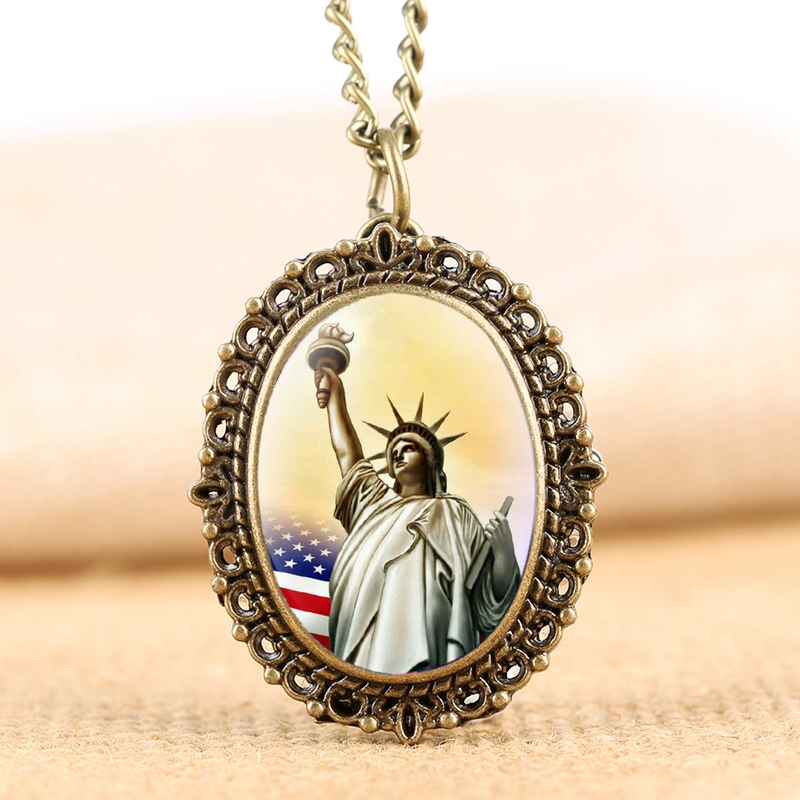 America USA New York The Statue Of Liberty Model Quartz Pocket Watch Free Goddess Figurines Collectible Souvenir Gift To Friends