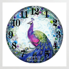 SepYue Diamond Paintings Cross Stitch New Arrivals Peacock Clock 5D DIY Embroidery Paint with Diamonds Mosaic Rhinestone