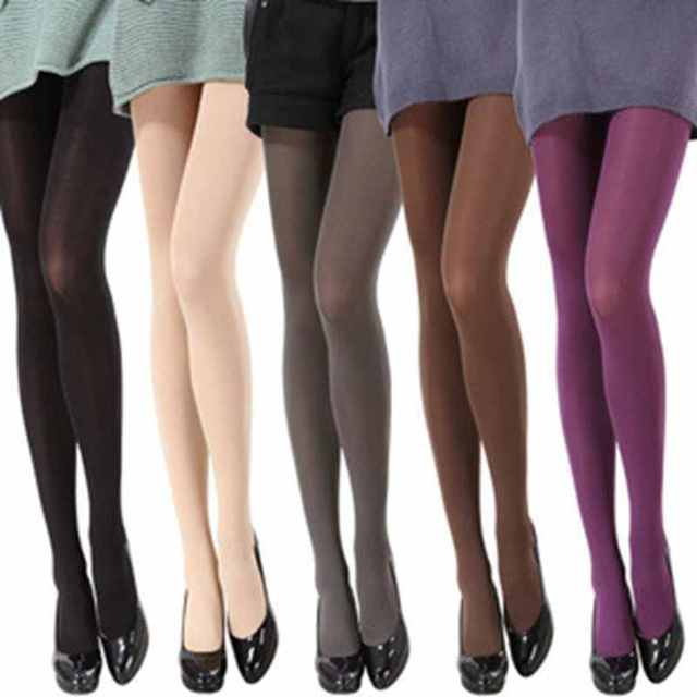 4b152b50c02 8 Colors Women s Spring Autumn Footed Opaque Stockings Pantyhose Tights  Black Gray Purple White