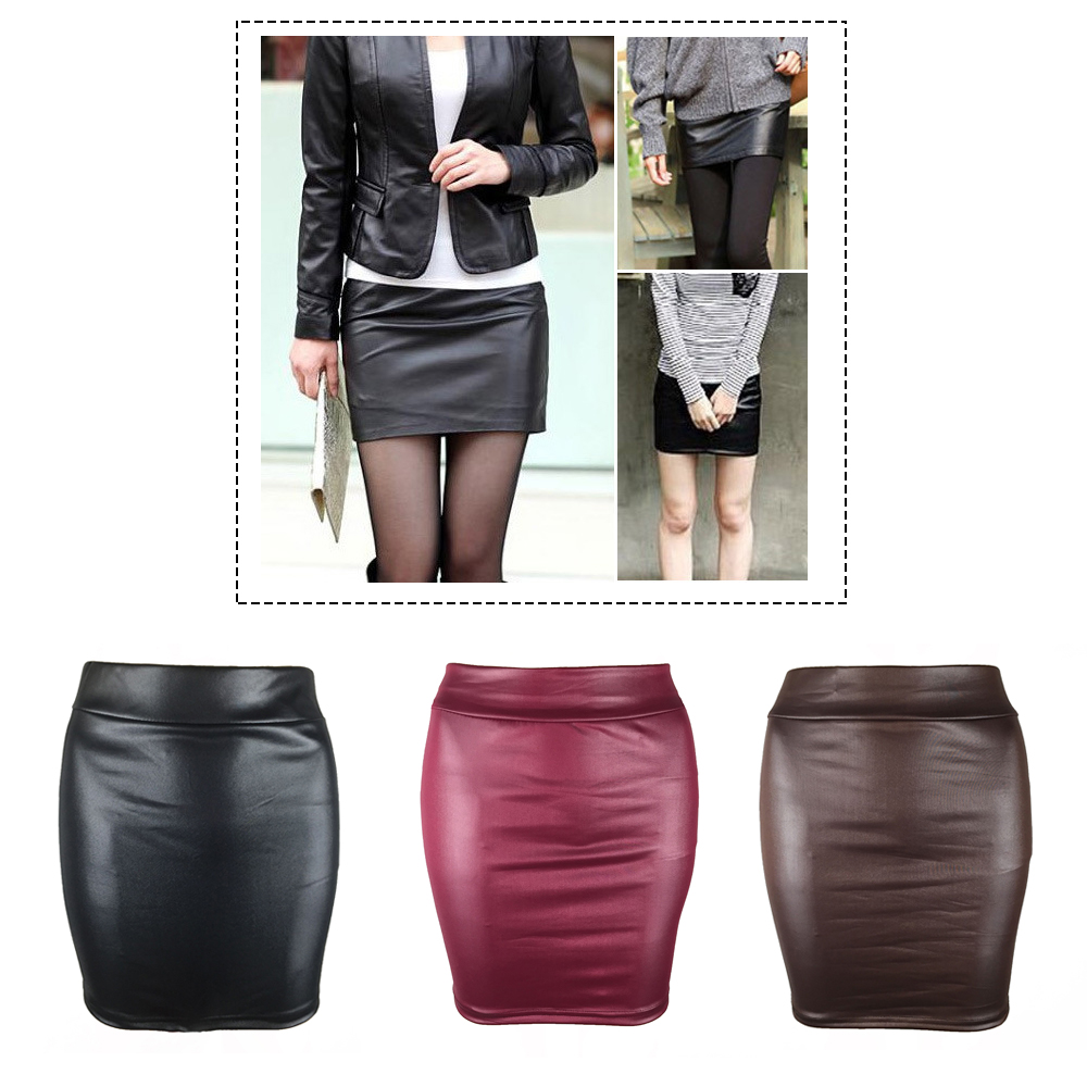 Sexy Women Mini Skirt Solid Color Faux PU Leather Pencil High Waist Bodycon Skirt 2018 Plus Size Ladies Short Skirts Streetwear