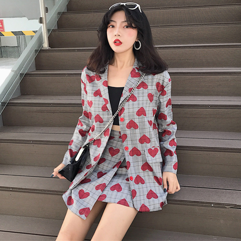 Fashion suit elegant retro plaid striped red heart pattern small suit and skirt suit collar single breasted commuter suit female