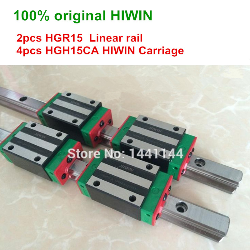 100% original HIWIN 2pcs HGR15 1200mm 1500mm Linear Guide rail + 4pcs HGH15CA HIWIN Carriage original hiwin linear guide hgr15 l600mm rail 2pcs hgh15ca narrow carriage block