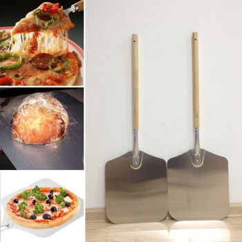 66cm Aluminum Alloy Pizza Shovel With Long Wooden Handle Pastry Tools Pizza Peel Paddle Spatula Baking Cutter Kitchen Accessorie