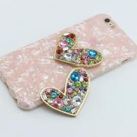 ALLOYSEED Mobile Phone Shell Crystal Gemstone Stickers Clothes Bag DIY Craft Decals Colorful Love Jewelry Accessories Decoration