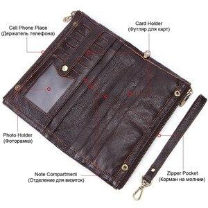 Image 3 - MISFITS Men clutch wallet genuine leather wallets for cell phone zipper clutch bag male cow leather long purse travel Portomonee