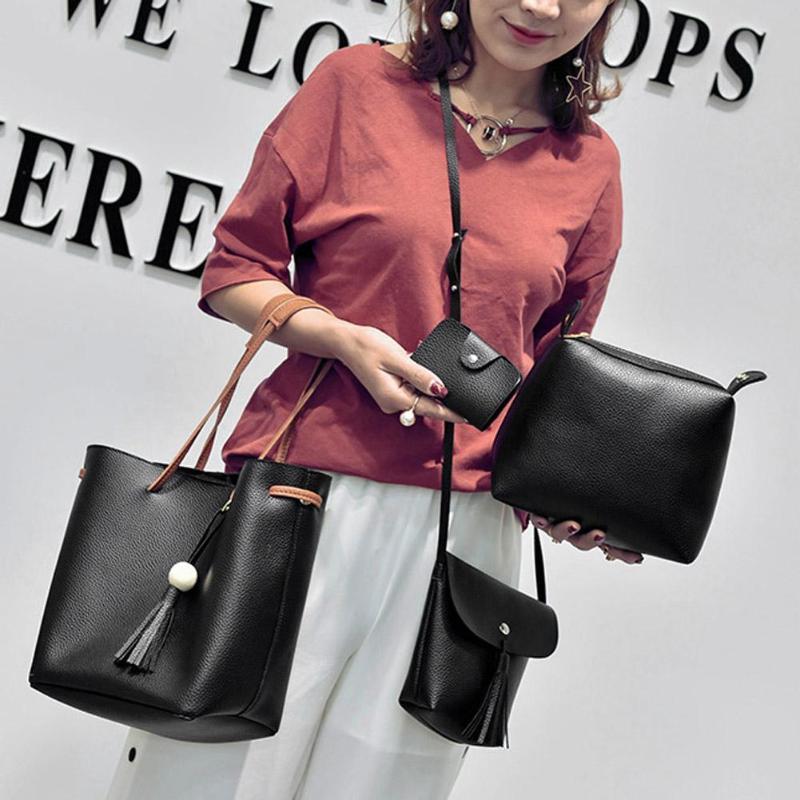 4 Pcs/Set Tassel Bucket Shoulder Handbags Women Leather Card Holder Bag Bolso Femenino Simple Casual Style Composite Bags
