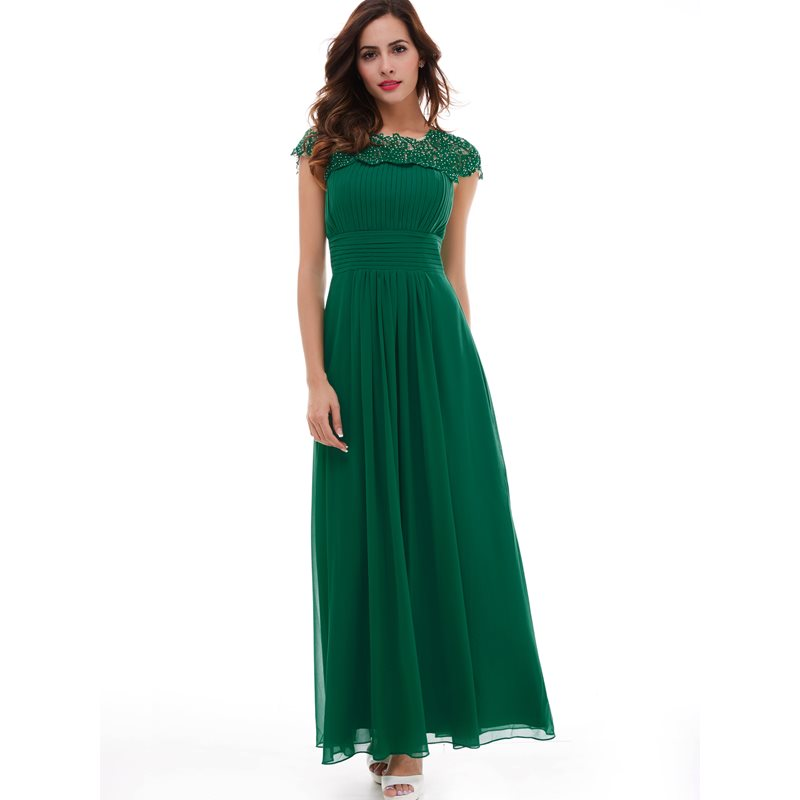 Dressv Hunter Lace Floor Length Appliques Draped Chiffon Keyhole Back Zipper Up Evening Dress