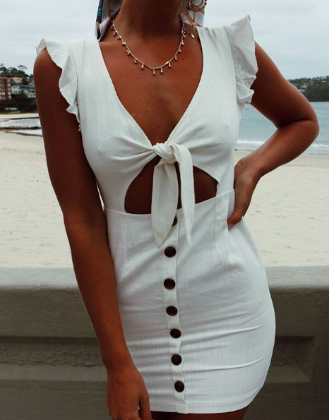 Fashion Womens Summer Sexy Sleeveless Plunge Bandage Bodycon Ladies Evening Party Mini Pencil Dress Sheath Butterfly Sleeve