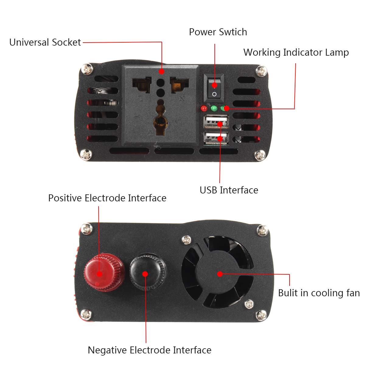 10000 W voiture onduleur 12/24 V à AC 220/110 V USB modifié convertisseur à onde sinusoïdale robuste Durable rouge universel Intelligent - 4