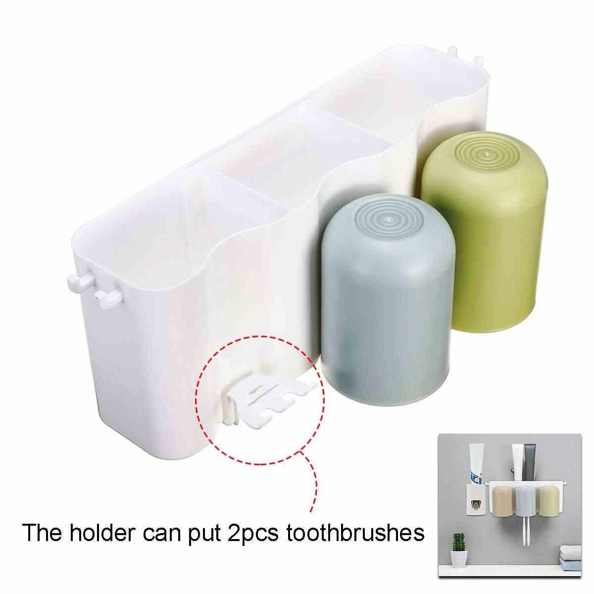 Automatyczny dozownik pasty do zębów kubek na szczoteczki do zębów uchwyt uchwyt ścienny do łazienki plastikowej podstawki ilościowego wytłaczania nietoksyczny bezpieczne