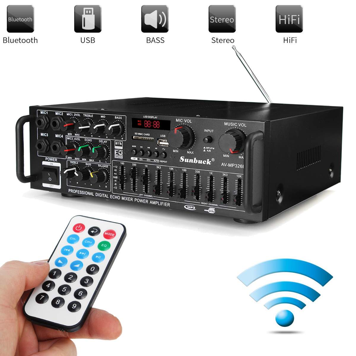EQ 2000 w 4 ohm 2CH bluetooth Estéreo auriculares bluetooth Digital amplificador de potencia USB 64 GB casa teatro amplificadores - 6