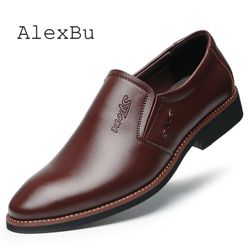 AlexBu Men Shoes Luxury Brand Men Casual Shoes Leather Loafers Men Leather Footwear Business Office Wedding Shoes Black Brown