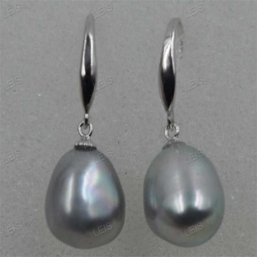11-12mm Gray Baroque Pearl earrings silver hook TwoPin irregular Real Flawless fashion Jewelry Party elegant classic dangler