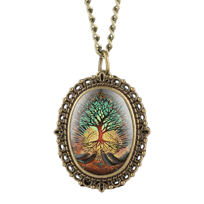 Quartz Pocket Watch Analog Pendant For Women Reloj Mujer Tree Of Life Pattern Oval Dial Gift For Pocket Watch With Necklace