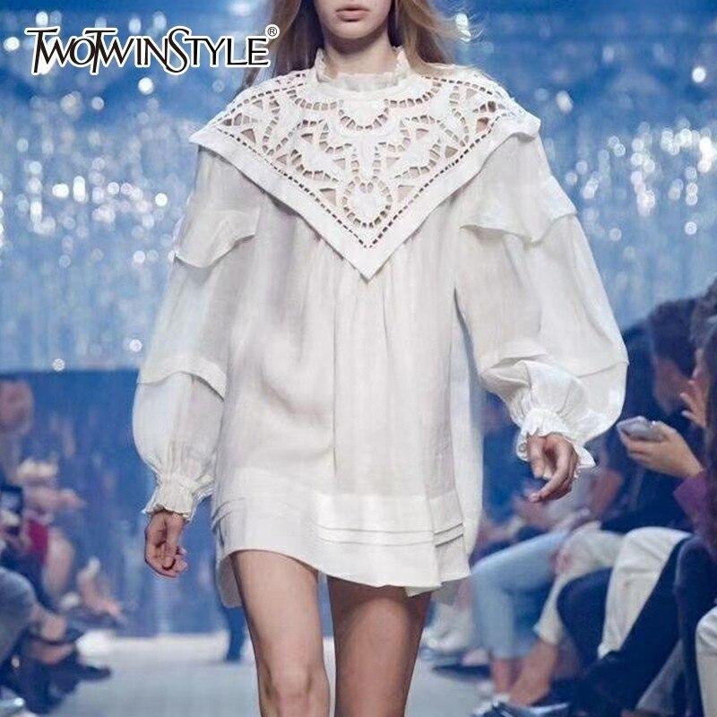 TWOTWINSTYLE eleganckie damskie sukienki latarnia z długim rękawem Hollow Out Mini sukienka kobiet ponadgabarytowych moda 2019 jesień duże rozmiary w Suknie od Odzież damska na AliExpress - 11.11_Double 11Singles' Day 1