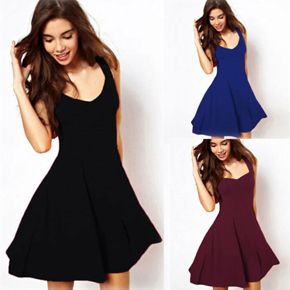 Women Summer Sexy Sleeveless V-Neck Mini Dress Ladies Casual Evening Party Solid Mini Dresses
