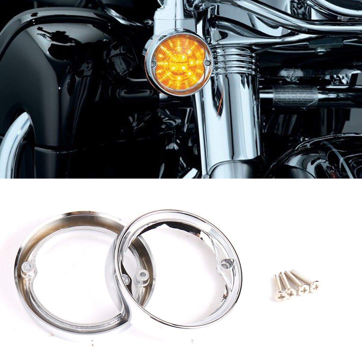 Chrome Deep Dish Flat Turn Signal Light Trim Ring Bezels For Harley Touring Street Glide FLH/T FLHX|chrome harley|harley chrome|harley trim - title=