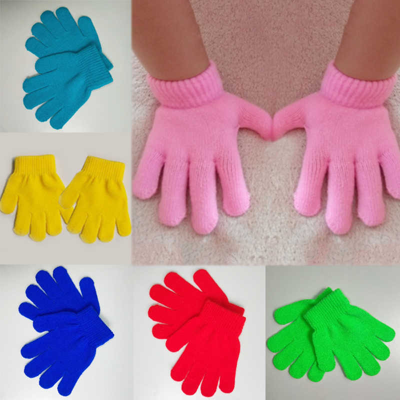 Knitting Autumn And Winter Magic gloves Student 1 PC lovely Child Solid color Keep warm Windproof