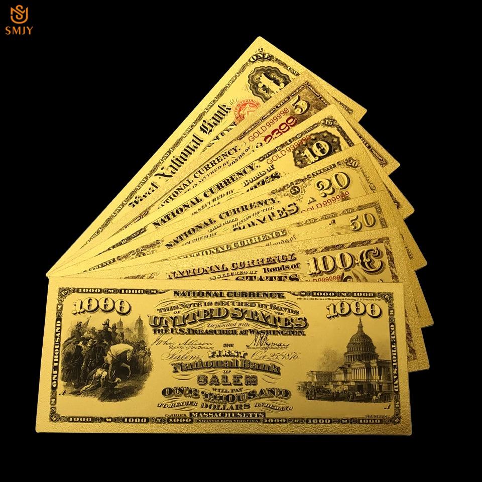 7 шт./лот 1875 доллар США золотая бумага для банкнот 1.5.10.20.50.100.1000 доллар банкноты для банкнот коллекция и праздничные подарки