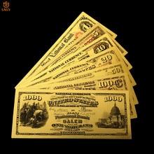 7 unids/lote de 1875 billetes de oro de los Estados Unidos, papel de moneda 1.510.10.50.100.1000 dólares, billetes de banco, Colección y regalos de vacaciones