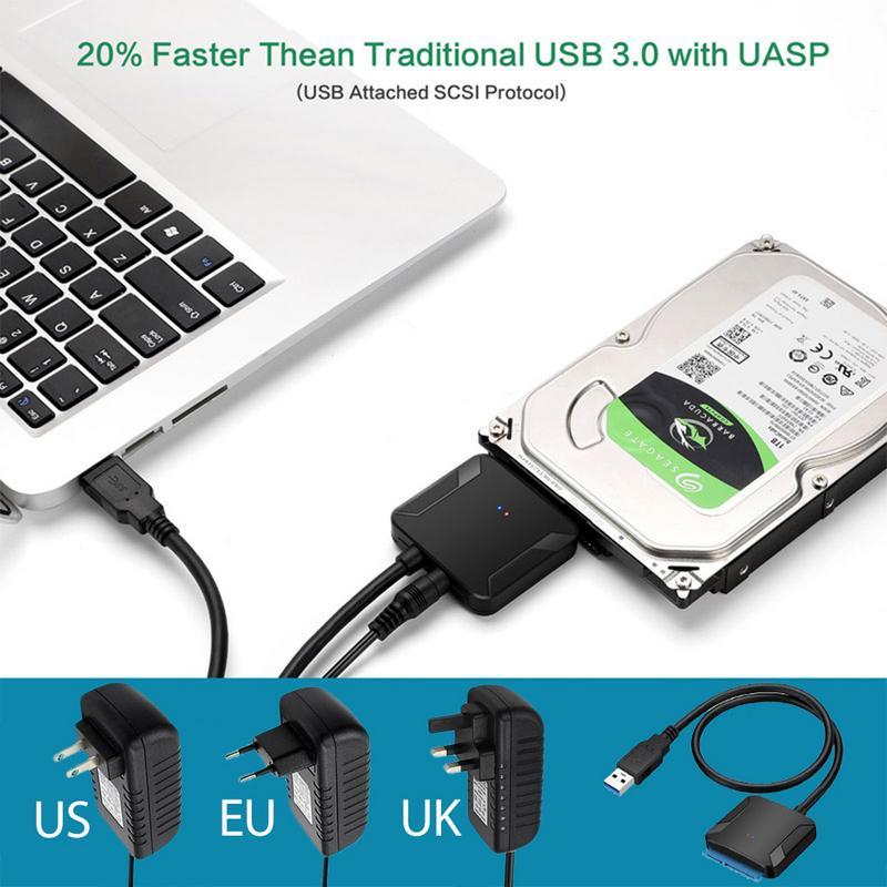 USB 3,0 a Sata Adaptador convertidor Cable USB3.0 Cable Converter para Samsung Seagate WD 2,5 3,5 HDD SSD adaptador