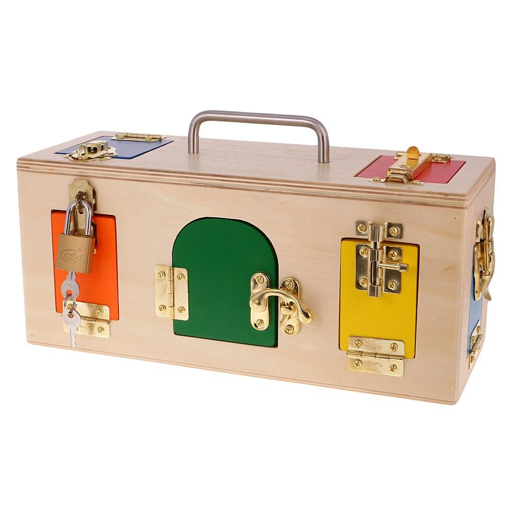 En bois Montessori vie pratique matériel petite boîte de verrouillage pour bébé enfants formation éducative jouet enfants cadeau d'anniversaire