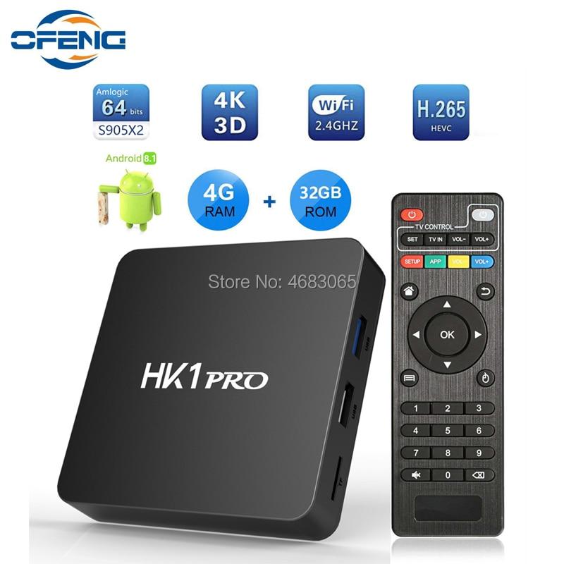 HK1 PRO Set Top Box Android 8.1 Amlogic S905X2 QuadCore 2.4G&5GHz Dual Wifi Media Player DDR4 2GB/4GB RAM 16GB/32GB/64GB TV BOX