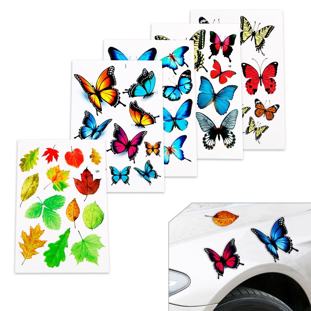 Car Stickers Scratch Cover Lovely Butterfly Leaves Funny Auto Motorcycle Car Decal Car-Styling Sticker Cartoon Reflective