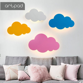 Artpad 5W 110V-260V Iron Wall Lamp Nordic Cartoon Creative Cloud Led Bedroom Bedside Lamp Girl Children Room Lighting