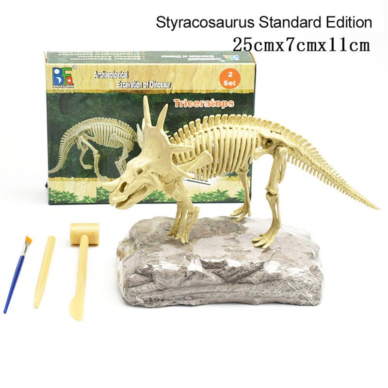 3D Dinosaur Skeleton toy DIY Assembled Simulated Skeleton Tyrannosaurus Rex Triceratops Stegosaurus Excavation Science Kit