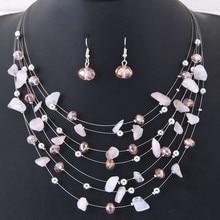 Bohemian Fashion Crystal shell Jewelry Sets Necklace Earrings Sets Party Jewelery Dress Je