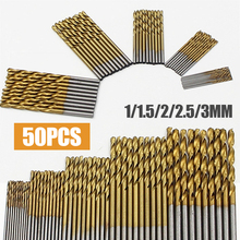 50Pcs 1/1.5/2/2.5/3mm Titanium Coated Drill Bits HSS High Speed Steel Drill Bits Set Tool High Quality Power Tools 50pcs set twist drill bit set saw set hss high steel titanium coated drill woodworking wood tool 1 1 5 2 2 5 3mm for metal h7