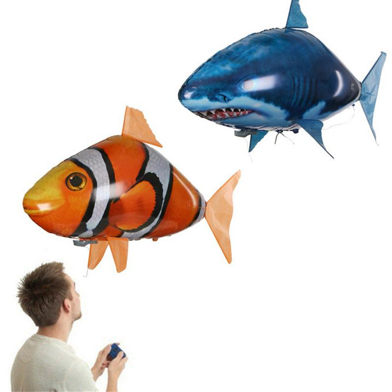 Remote Control Shark Toys Air Swimming Fish Infrared RC Flying Air Balloons Clown Fish Kids Toys Gifts Party Decoration 1pcs remote control flying air shark toy clown fish balloons rc helicopter robot gift for kids inflatable with helium fish plane